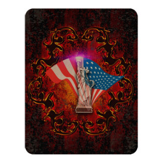 The Statue of Liberty with decorative floral elmen Card