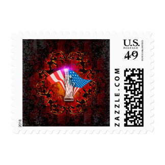 The Statue of Liberty with decorative floral elmen Postage