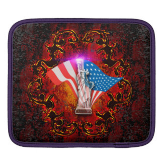 The Statue of Liberty with decorative floral elmen Sleeve For iPads