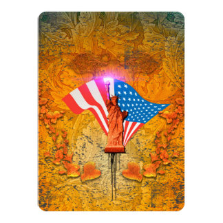 The Statue of Liberty with USA flag Card