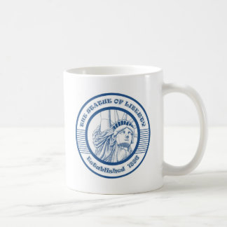 THE STATUE OF THE LIBERTY BLUE CLASSIC WHITE COFFEE MUG