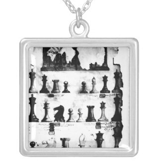 The Staunton Chessmen Patent Drawing Silver Plated Necklace