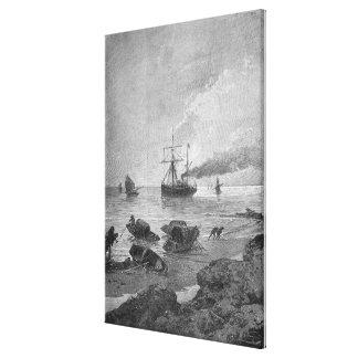 The steamship Vladivostok on the Yangtze River Stretched Canvas Prints