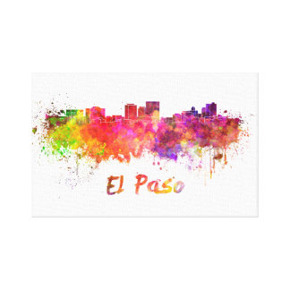The Step skyline in watercolor splatters with clip Canvas Print