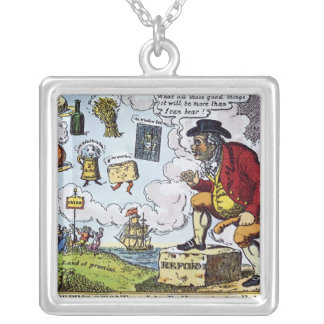 The Stepping Stone,John Bull peeping into Square Pendant Necklace