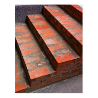 The steps of a new red brick staircase postcard
