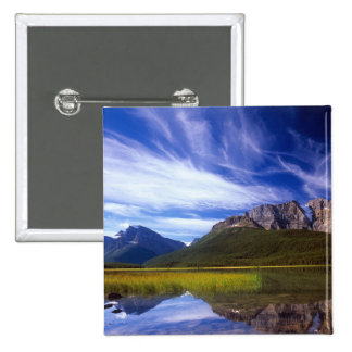 The still waters of Waterfowl Lake make a Pinback Button