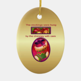 The Stockings were hung Double-Sided Oval Ceramic Christmas Ornament