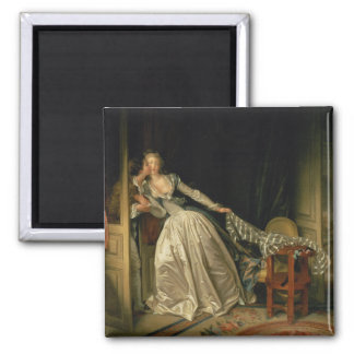 The Stolen Kiss by Jean-Honore Fragonard 2 Inch Square Magnet