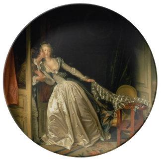 The Stolen Kiss by Jean-Honore Fragonard Porcelain Plates