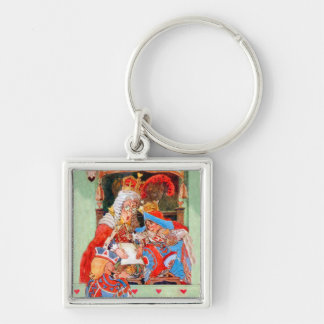 The Stolen Tarts Trial of The Knave of Hearts Silver-Colored Square Keychain