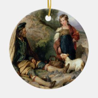 The Stone Breaker and his Daughter, 1830 Ceramic Ornament