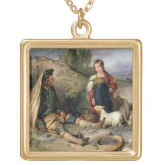 The Stone Breaker and his Daughter, 1830 Gold Plated Necklace