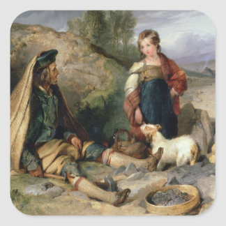 The Stone Breaker and his Daughter, 1830 Square Sticker