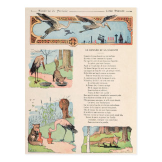 The Stork and the Fox from the Fables Postcards