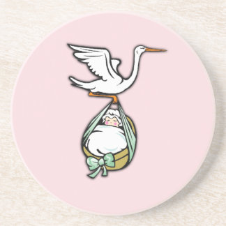 The Stork Carries a Baby Girl Sandstone Coaster