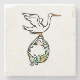The Stork Carries a Baby Girl Stone Coaster