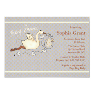 The Stork is Coming (stars) Baby Shower Invitation