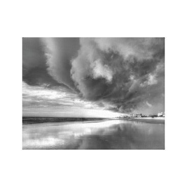 Beach Themed The Storm On New Smyrna Beach (Black and White) Canvas Print