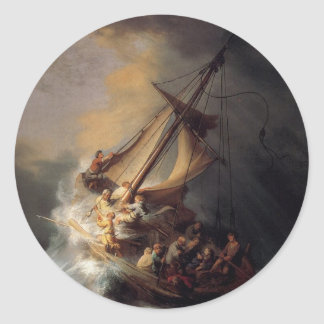 The-Storm-on-the-Sea-of-Galilee-by-Rembrandt-van-R Classic Round Sticker