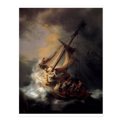 The_Storm_on_the_Sea_of_Galilee_by_Rembrandt_van_R Postcard