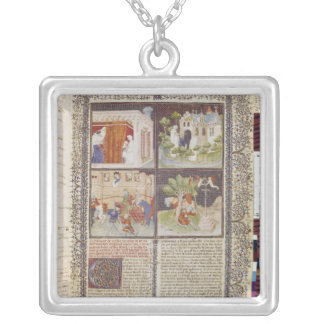 The Story of Lancelot and the Quest for Holy Square Pendant Necklace