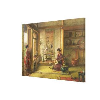 The Stray Shuttlecock (oil on canvas) Canvas Print