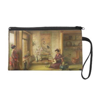 The Stray Shuttlecock (oil on canvas) Wristlet Purse