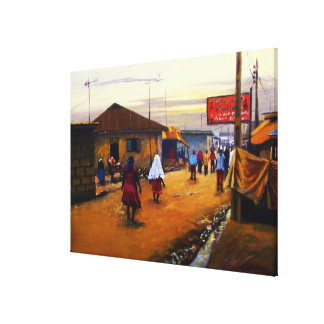 The Street Of Africa 2 Oil On Canvas by Mojisola A Canvas Print