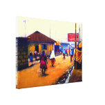 The Street of Africa  Oil On Cancas by Mojisola A  Stretched Canvas Print