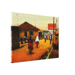 The street of Africa Oil On Cancas by Mojisola A G Stretched Canvas Prints