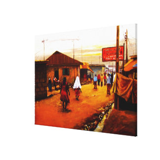 The Street Of Africa Oil On Canvas by Mojisola A G