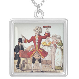 The Street Singer, engraved by Alois Senefelder Silver Plated Necklace
