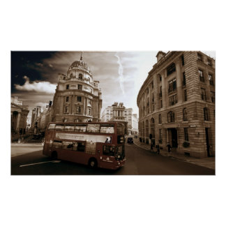 The Streets of London with Double Decker Bus Poster