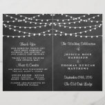 """The String Lights On Chalkboard Wedding Collection<br><div class=""""desc"""">Simple yet elegant, the string lights on chalkboard wedding collection is a stunning design featuring lovely white hanging string lights on a chalkboard effect background, which is perfect for any modern wedding celebration. These programs can be personalized for your special occasion and would make the perfect order of service for...</div>"""