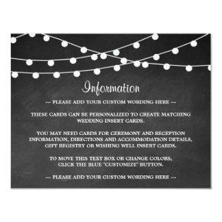 The String Lights On Chalkboard Wedding Collection 4.25x5.5 Paper Invitation Card