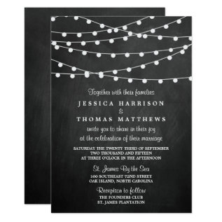 The String Lights On Chalkboard Wedding Collection Card at Zazzle