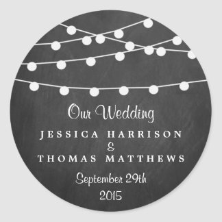 The String Lights On Chalkboard Wedding Collection Classic Round Sticker
