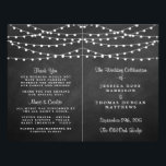 """The String Lights On Chalkboard Wedding Collection Flyer<br><div class=""""desc"""">Simple yet elegant, the string lights on chalkboard wedding collection is a stunning design featuring lovely white hanging string lights on a chalkboard effect background, which is perfect for any modern wedding celebration. These programs can be personalized for your special occasion and would make the perfect order of service for...</div>"""
