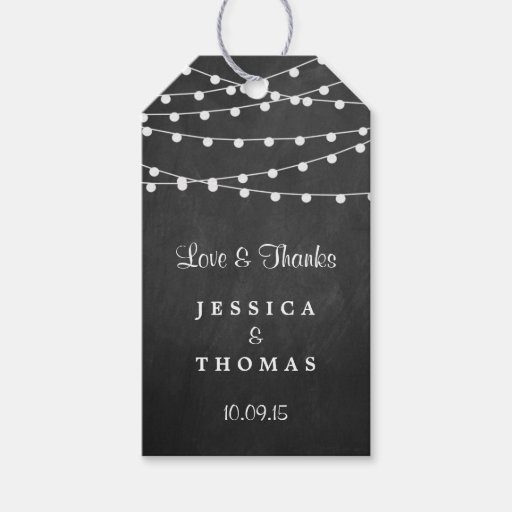 The String Lights On Chalkboard Wedding Collection Gift Tags