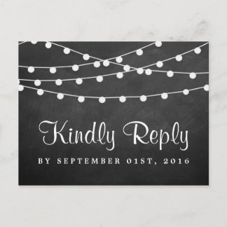 The String Lights On Chalkboard Wedding Collection Invitation Postcard