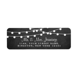 The String Lights On Chalkboard Wedding Collection Label at Zazzle