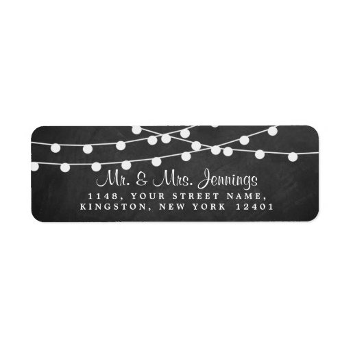 The String Lights On Chalkboard Wedding Collection Label
