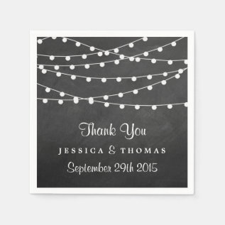 The String Lights On Chalkboard Wedding Collection Paper Napkin at Zazzle
