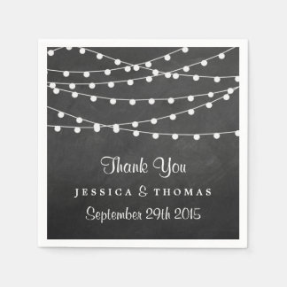 The String Lights On Chalkboard Wedding Collection Paper Napkin