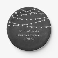 The String Lights On Chalkboard Wedding Collection Paper Plate