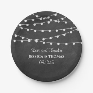 The String Lights On Chalkboard Wedding Collection Paper Plate at Zazzle
