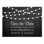 The String Lights On Chalkboard Wedding Collection Postcard
