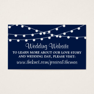 The String Lights On Navy Blue Wedding Collection Business Card