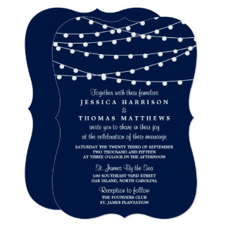 The String Lights On Navy Blue Wedding Collection Card